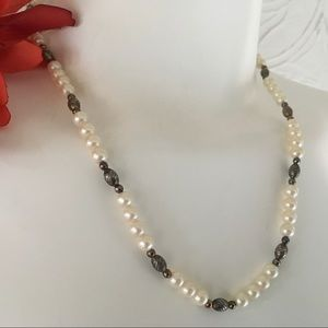 Jewelry - Pearl Beads with Retro Brass Accent Beads Vintage